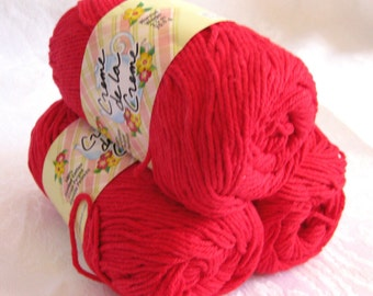 Creme de la Creme Cotton Yarn, RALLY RED cotton yarn,  100% cotton, worsted weight