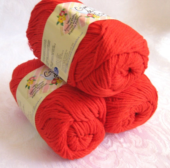 SCARLET Red Cotton yarn, Creme de la Creme Cotton Yarn,  100% cotton, worsted weight