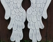 Wooden Carved Angel Wings In Lacey 30 inches Distressed Grey, White and Pearl Sheen Wall Hanging
