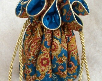 Oriental Express Jewelry Pouches in gold and peacock, Jewelry Travel Organizer, Jewelry Bag, tote