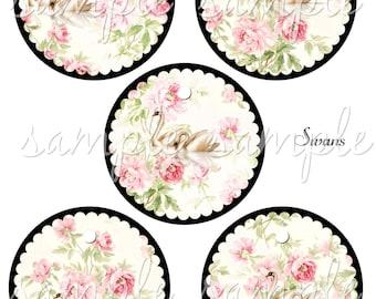 Swans -  Printable Digital Collage Sheet - 3 inch Circles Digital Download