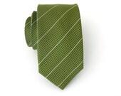 Mens Ties Skinny Necktie Green and Ivory Stripes Mens Tie