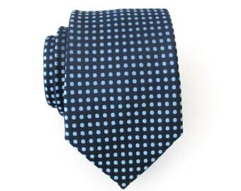Mens Tie. Navy Blue Dots Mens Necktie