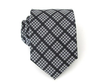Men's Tie. Black and Silver Checkers Mens Tie