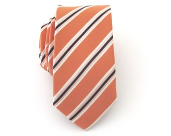 Mens Ties. Orange Brown Stripes Mens Skinny Tie Necktie