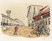 Innocenti Factory watercolor print
