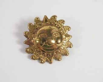Sun Face Swiss Brooch Vintage 80s Jewelry