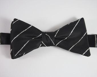 Vintage 60s Tux Bow Tie Adjustable Black Satin Silver Metallic Stripe