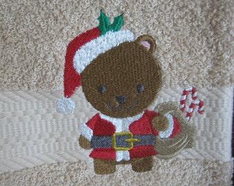 Hand Towel with Christmas Bear