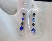 Cobalt Blue Black Silver Chandelier Earrings - Sterling Silver Elongated Octagon Shape