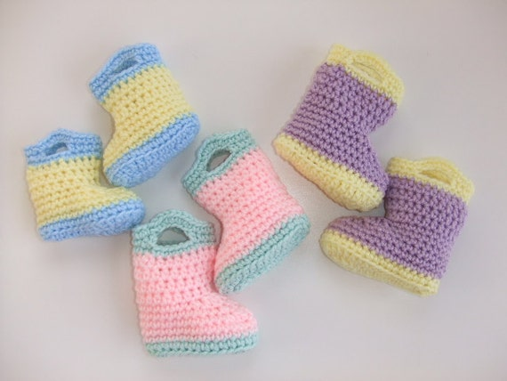 Crochet Baby Rain Boot Pattern Free : Crochet Pattern Baby Rain Boots Digital Download
