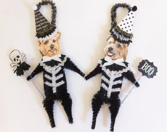 Norfolk Terrier SKELETON Halloween vintage style CHENILLE ORNAMENTS set of 2