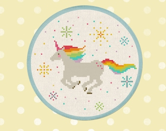 Sparkly Rainbow Unicorn. Best Seller Modern Simple Colorful Counted Cross Stitch Pattern PDF Instant Download