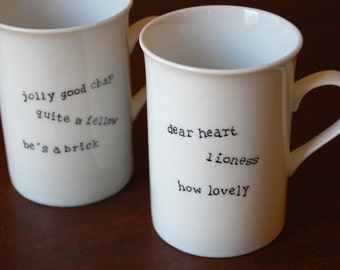 Britishisms His and Her Mug Set--Set of Two SALE