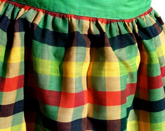 Vintage Mid Century Half Apron Plaid Colorful