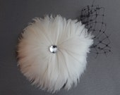 White Feather Hair Clip with Rhinestone Center and Black Bird Cade Trim