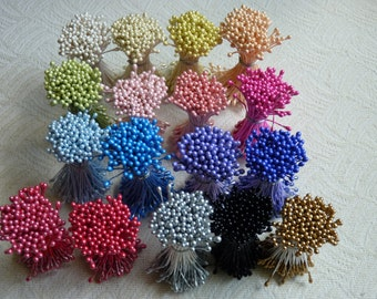 1 Bundle of Double Sided Pearl Cone Tip Floral Stamen (You pick the color)