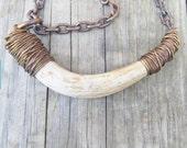 Real Deer Antler Necklace Wire Wrap Necklace Antler Jewelry DanielleRoseBean Deer Antler Statement Necklace