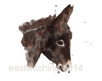 DONKEY print, burro, donkey, cute baby animal art