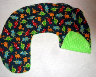 Dinosaurs and Lime Green Minky Dot Nursing Pillow Cover Fit Boppy NEW PRINT