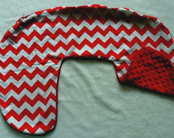 Red and White Chevron and Red Minky Dot Nursing Pillow Cover Fits Boppy CHOICE OF MINKY