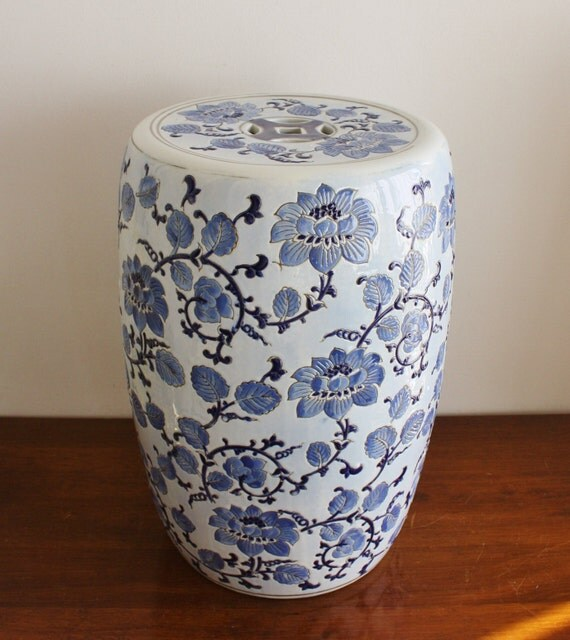 Vintage Blue And White Ceramic Garden Stool By