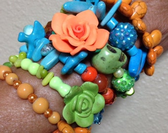 When it Comes To Glitz and Glamour -Day of the Dead Colorful Elements And Texture In Art Bracelet-Every Design Tells A Story-