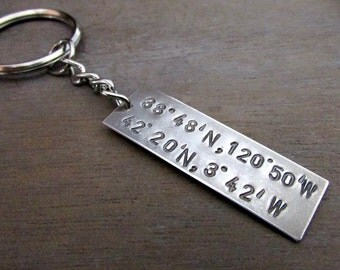 Long Distance Love Keychain, Longitude, Latitude GPS Coordinates Dual City Geocache Hand Stamped Sterling Silver Key Ring by E. Ria Designs