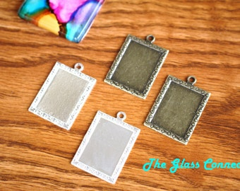 20 Rectangle Bezels Settings Gift Tags 22x16mm Photo Pendant trays Antique Brass Jewelry Making