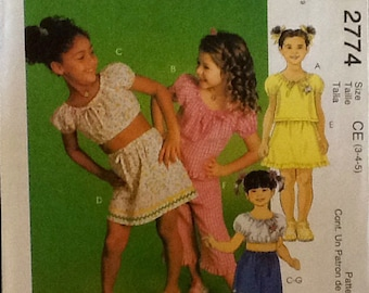 Pattern Girls Top Skirl Shorts and Capri Pants Short Sleeves  uncut, size. 3-5