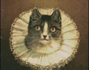 VINTAGE CAT, Widow cross stitch pattern No.756