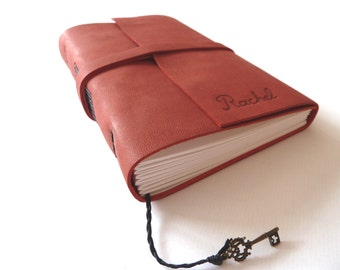 Personalised Leather Journal, Dark Red