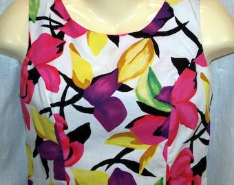 1980s Vintage Wiz Halmade Flower Print Dress Size 3 4