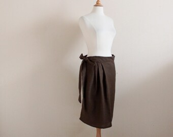 brown linen wrap skirt with pleats ready to wear