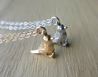 Tiny Bird Necklace, Choose Silver Or Gold, Sterling Silver, 14K Gold Fill Jewelry