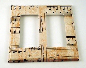 Double Rocker Light Switch Cover Wall Decor Switchplate Switch Plate in Symphony   (157DR)