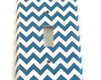 Light Switch Cover Wall Decor Switchplate Switch Plate in  Blue Chevron  (227S)