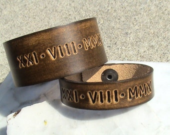 His n Hers - Anniversary - Roman Numeral Leather Wristbands - 5/8 inch and 1.25 inch wide bands - set of 2