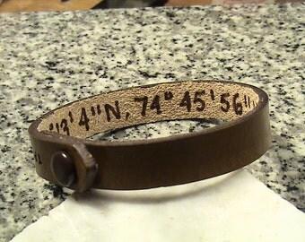 Custom Leather  5/8 inch - Secret Latitude / Longitude - Wristband with Initials at snap
