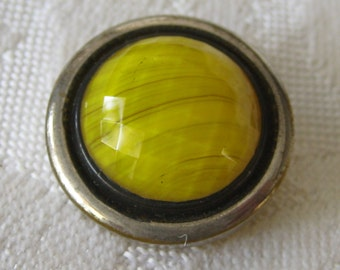 VINTAGE Yellow Art Glass with Black & Silver Trim BUTTON