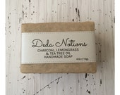 Lemongrass, Charcoal, Tea Tree  - OLIVE & SHEA BUTTER Soap - Handmade Cold Process