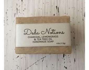 Lemongrass, Charcoal, Tea Tree  - OLIVE & SHEA BUTTER Soap - Handmade Cold Process