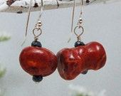 Chunky Red Sponge Coral Earrings with black Spinel