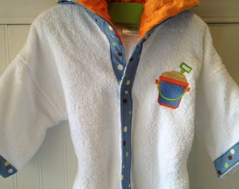 EMBROIDERY-Boys-Bath-Robes-Boy-Robe-Swim-Shovel & Pail-Blue-Polka-Dots-Beach-Sleepwear-Hooded-Terry-Cover Up-HOLIDAYS-Gift-Ready-To-Ship