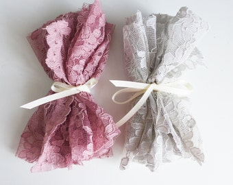 Sample - rose pink OR dove grey corded lace
