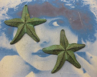 Verdigris Patina Large Brass Starfish Charms 217VER  x2