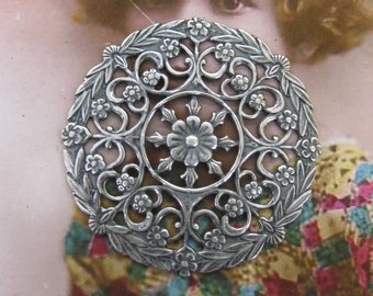 Sterling Silver Ox Plated Ornate Filigree Round Brass Stampings 15SOX x2