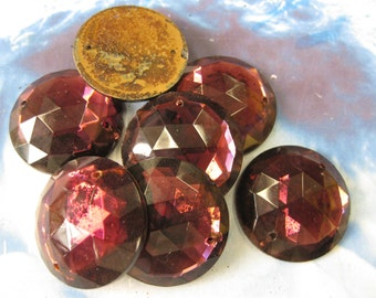 Vintage 30mm Amethyst Glass Faceted Cabochon 2282Amy x2