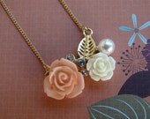 SALE - Vintage-Inspired Gold Flower and Leaf Necklace - Bella Mia Beads - READY to SHIP