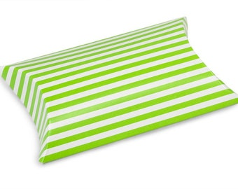 12 Pack Green and White Stripe Paper Pillow Boxes 3 X 3.5 X 1 Inch Size Great Packaging for Gifts, Party Favors, and More